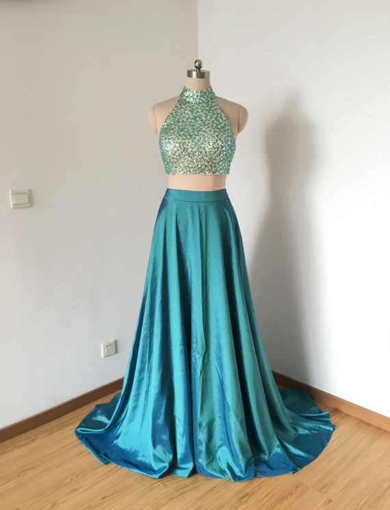 Two Piece Teal Blue Taffeta Long Prom Dress 2017