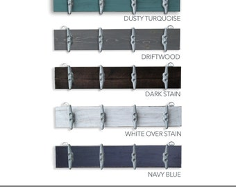 Distressed Turquoise Boat Cleat Rack - Nautical Key Holder - Coastal Coat Rack with Boat Cleats