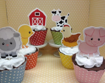 Farm, Barn, Cow, Pig, Sheep, Lamb, Rooster, Duck, Chick, Horse Farm Party Cupcake Toppers Decorations - Set of 10