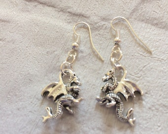 Dragon Earrings, Silver Dragon Jewellery, Fantasy Earrings, Mother of Dragons,Gift for Her, Silver Dragon, Mythical Earrings.