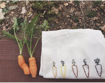kitchen towel with carrot embroidery
