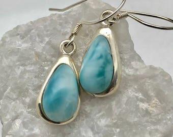 Larimar-Teardrop-Long-Sterling Silver-Earrings