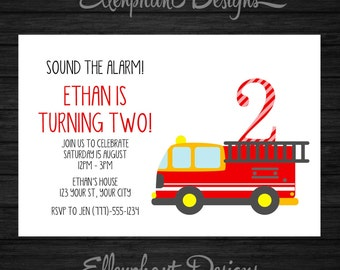 Fire Engine Birthday Invitation, Fire Truck, first, second, 1st, 2nd, 3rd, 4th, 5th, kids, boy, custom invite, digital file, DIY printable