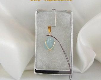 Aquamarine Gold Pendant Small