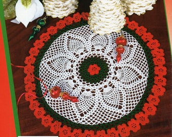 "Christmas rose crochet doily pattern CROCHET PATTERN pdf pineapple doily crochet pattern thread 3ply crochet cotton 13.5"" Instant Download"
