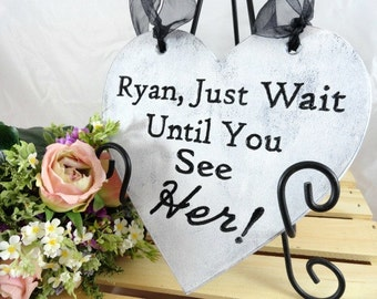 Rustic Wood Heart Engraved Ring Bearer Sign Alternative Ring Bearer Pillow Rustic Photo Prop Ring Bearer Sign Personalized Wedding Sign