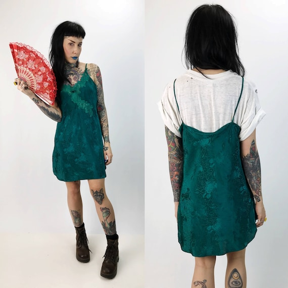 90's Emerald Green Slip Dress Small Lightweight Sundress - Vintage Spaghetti Strap Lingerie Mini Layer/Dress - Floral Print Teal Green Slip