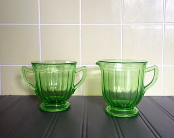Vintage Green Depression Glass Sugar and Creamer