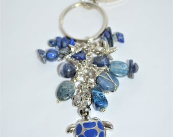 Keychain Sea Turtle & Semi Precious Stones, Lapis Beach Keychain, Sea Turtle Keychain, Lapis Lazuli Keychain with Shell Charms