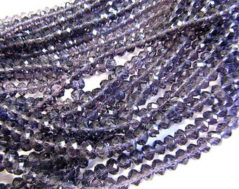 Rondelle Beads, Faceted Crystal Glass, 6mm, Amethyst AB, Spacer Beads, 50 Piece, Bead Sale, Jewelry Supply, Bead Supply