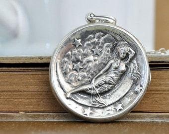 VINTAGE FIND sterling silver moon goddess locket necklace, long chain