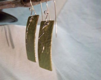 Hadcrafted Earrings.  Enameled Copper and Sterling