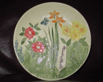 """Sunny Summer Garden Ceramic Ring or Candy or Trinket or Soap Dish   5""""                                              317"""