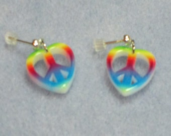 Rainbow Peace Dangle Earrings (386)