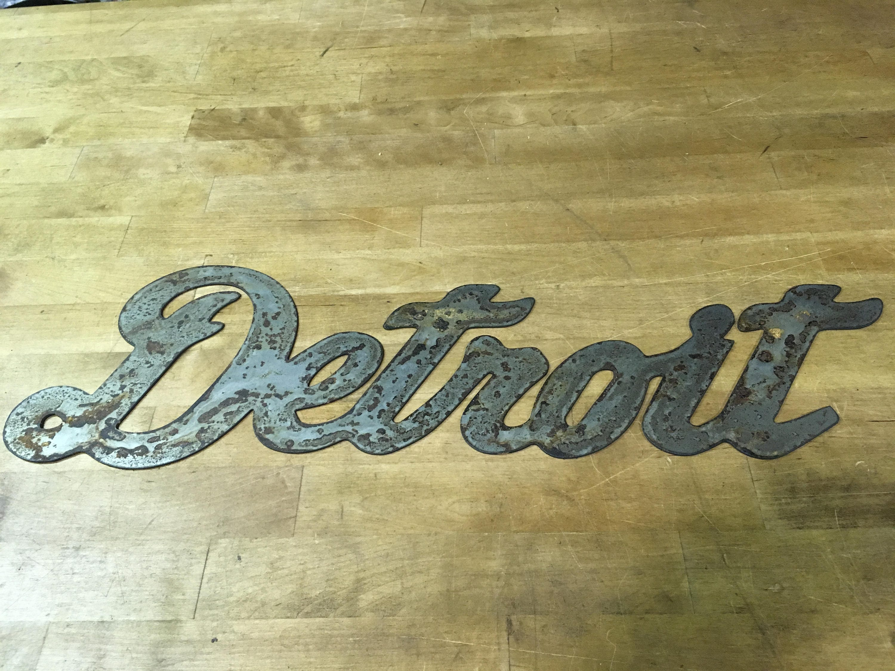 Rustic Patina Detroit Writing Steel City Sign Wall Metal Art