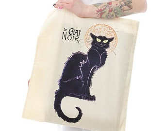 Le Chat Noir Cream Cotton Shopping Tote Bag Eco Friendly