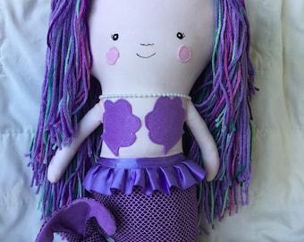 Large Stuffed Mermaid Doll, Mermaid Plush, Mermaid Gift, Mermaid Birthday, Purple Mermaid, Girls Toys, Mermaid Toy