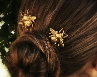 Bee Hair Pin Gold Bumble Bee Bobby Pins Brass Hair Pins Bee Hair Clips Bridal Hair
