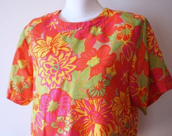 Vintage Silky Jack Mulqueen Blouse / Neon Blouse / Neon Shirt / Fluorescent Shirt / Silky Blouse / 90s Blouse / Fluorescent Clothing