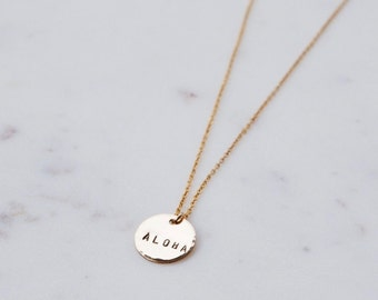 ALOHA Hand Stamped Mini Coin Necklace