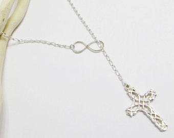 Cross infinity necklace, sterling silver, lariat, Cross necklace