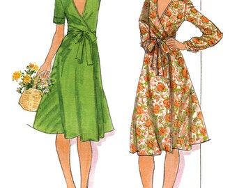 Butterick 4747 Vintage 1970s wrap dress with long or short sleeves uncut sewing pattern