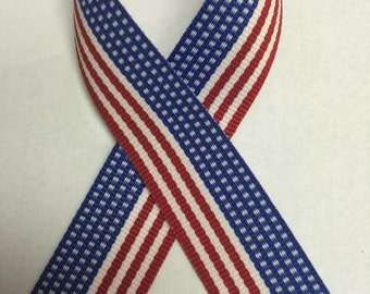"7/8"" Patriotic Stripe Grosgrain Ribbon - Red White & Blue -July 4th  - 100% Polyester - USA - American Flag - Stars and Stripes"