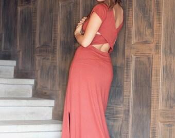 "Long Open Back ""Aphrodite"" Maxi Dress, semi causel w/slits"