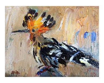 Hoopoe - Original Oil Painting - Miniature Art Abstract Impasto Nature Animals Bird Canvas Paintings Birds Wall Decor Small Oils Texture 6x8