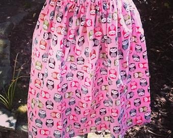 REDUCED***Handmade Owl Print Vintage Style Skirt
