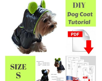 PDF dog clothes patterns Coat pattern for dog DIY dog clothes Coat DIY for dog Small dog clothes Pattern for small dog waterproof coat