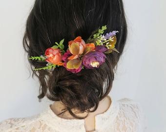 Bridal hair comb, Amaranth comb, orange Flower hair comb for bride or bridesmaids, Rustic wedding, Boho wedding accessory, Country wedding