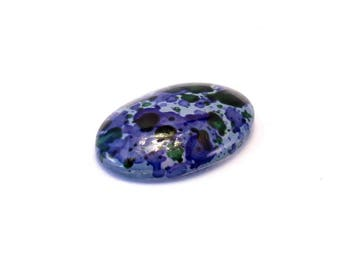 1 oval glass cabochon painted spotted purple and green 18 x 13 mm