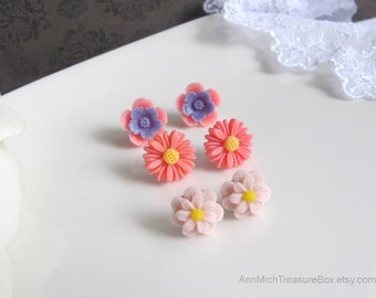 Flower stud earrings. Pink Purple Sakura, Pink Daisy, Pink flowers. Petite Floral Garden Surgical Stainless Steel Studs Ear accessories