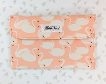 Diaper Clutch - Swans, Peach Swans Diaper Clutch, Pink Changing Clutch with Pad, Diaper Holder, Diaper Pouch,With Changing Pad,Diaper Clutch