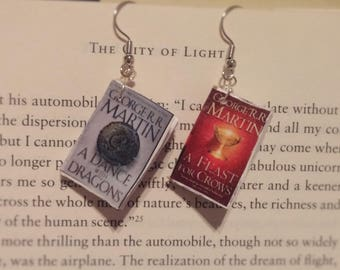 Book Earrings - A Dance With Dragons and A Feast For Crows