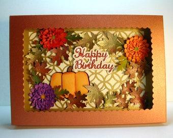 Beautiful shadowbox autumn handmade card with handmade flowers and pumpkin  mums multiple occasion