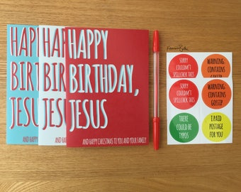 Bundle of Funny Christmas Cards & Stickers/Envelope Seals | 6 Cards, 8 Stickers, 1 Pen | Happy Birthday, Jesus Atheist Card Gift Pack