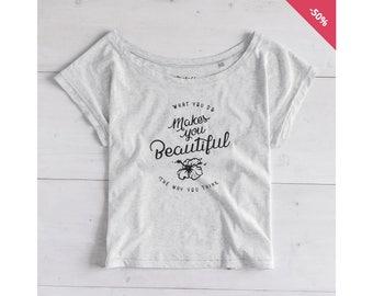 Woman Graphic Tee Oversize Heather Ash Organic Cotton - Printed T-shirt Wild Flower