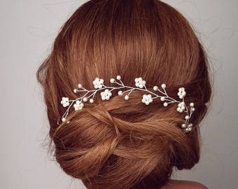 Flower Hair Vine, Wedding Hair Piece, Pearl Vine, Bridal Hairpiece, Crystal Vine, Beaded Headpiece, Floral Vine, Flower Vine, Wedding Hair