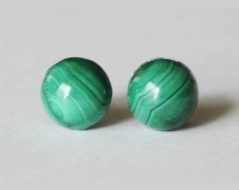 Titanium earrings, 8mm Natural Green Malachite studs, Titanium studs (hypoallergenic), Green stone post studs, sensitive ears, Green earring