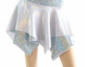 Flashbulb Holographic and Frostbite Shattered Glass Double Layer Pixie Skirt Rave Festival Clubwear EDM - 154392