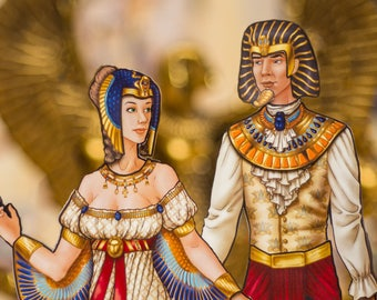Egyptian costumes for paper dolls, Isis and Osiris, Cinderella expansion pack, Egyptian gods, activity set