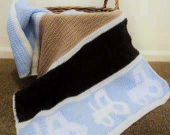 Crochet Blanket Pattern/ Baby Boy Blanket Pattern/ Tractor Blanket Pattern