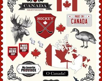 Canada Embellishments. Digital Scrapbooking. Instant Download.