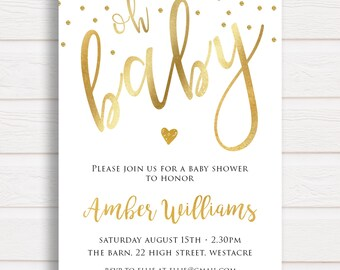 Oh baby invitation   Etsy