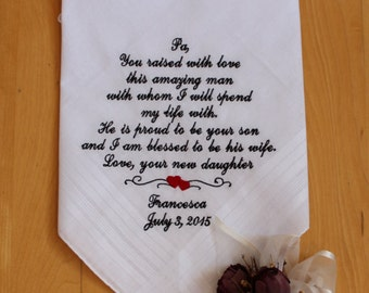 Father of the Groom handkerchief, Mens Handkerchief. Father of the Groom Gift. Wedding Monograms. Personalized Wedding, MS2F11