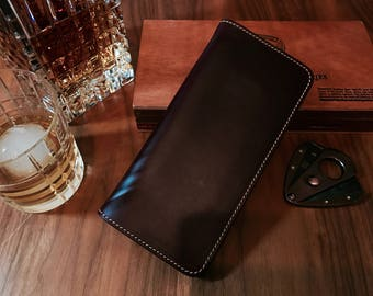 Personalized wallet, Horween Chromexcel Long Wallet, mens leather wallet, minimalist wallet, travel wallet, front pocket wallet, slim wallet