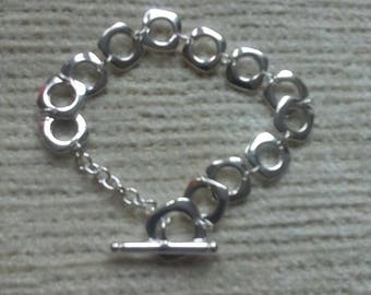 Sterling silver plated bracelet/ Sterling Silver Toggle Bracelet/costume jewellery