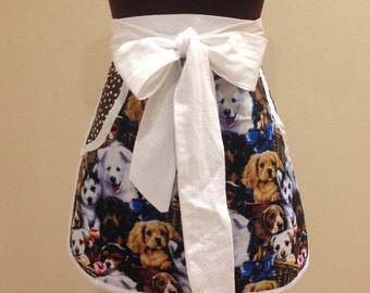 Puppy and Polka Dot Hostess Apron - Ready to Ship